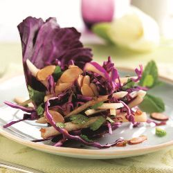 Jicama & Red Cabbage Salad with Mint and Cilantro, tossed with Sweet-and-Sour Asian Dressing